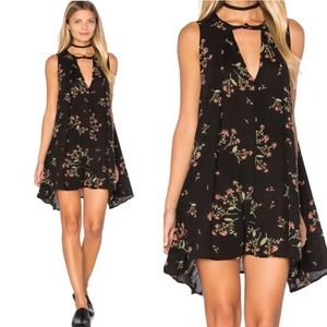 Free People Black Floral Snap It Out Swing Dress